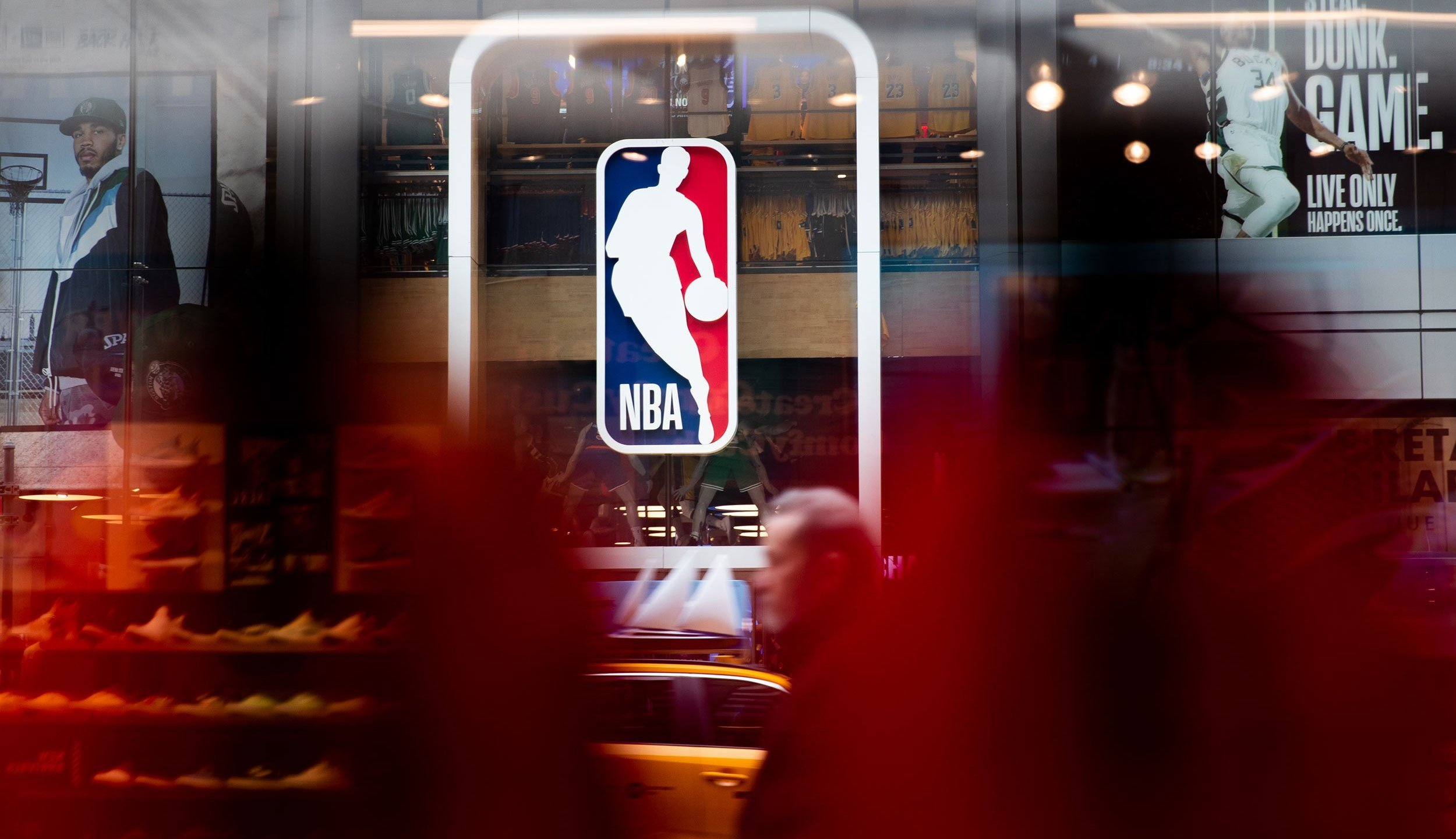 The NBA logo is seen in an undated photo. (Jenah Moon/Getty Images)
