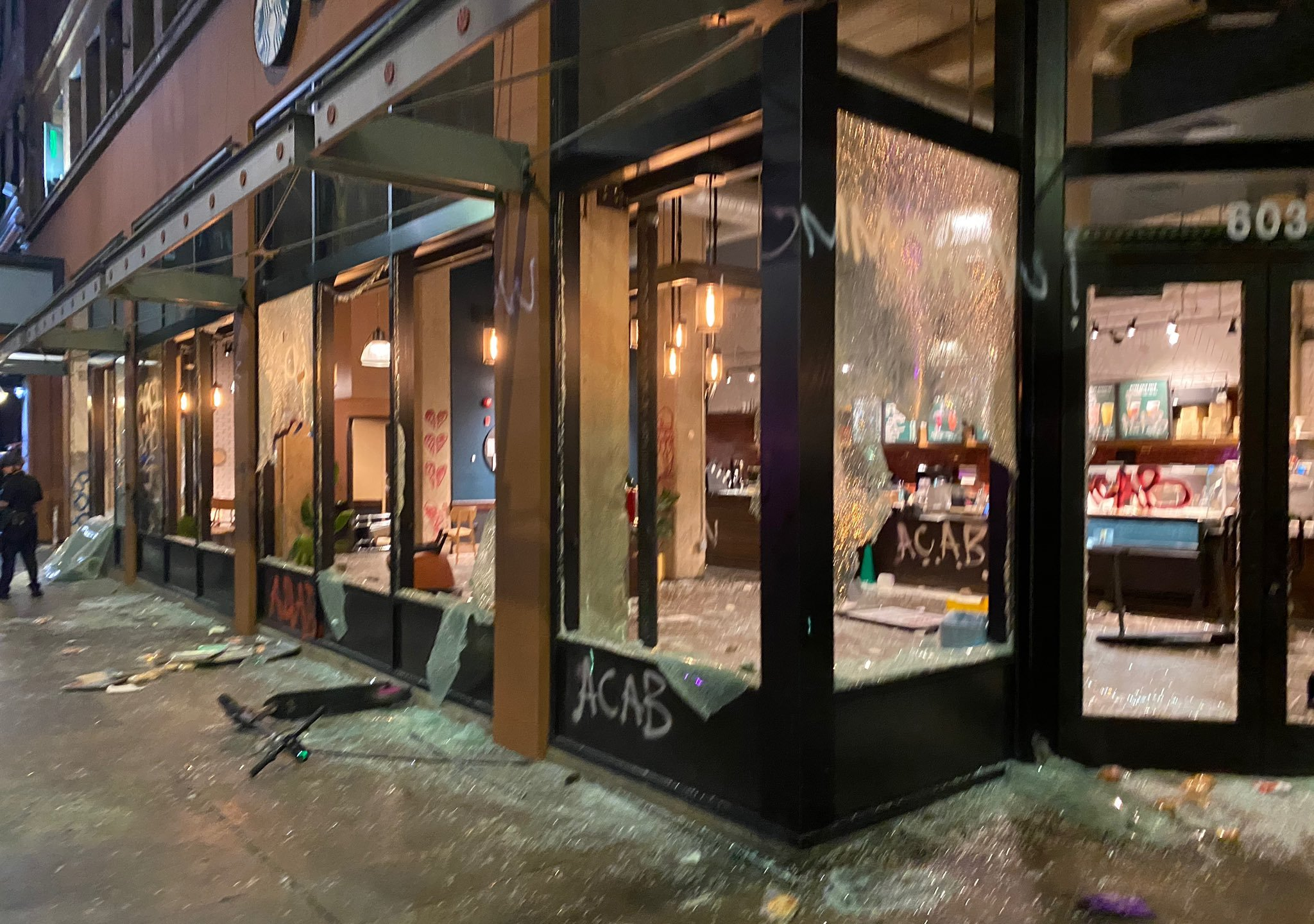 LAPD Chief Michel Moore tweeted this photo on May 30, 2020 of a Starbucks location with broken windows and door in downtown Los Angeles.