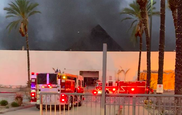 The Redlands Fire Department released this photo showing dark smoke rising from the Splash Kingdom water park in Redlands on May 2, 2020.