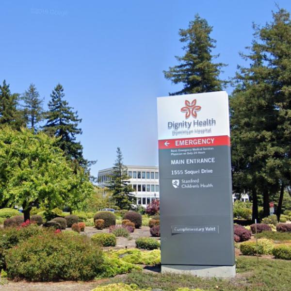 A Google Maps image shows the Dominican Hospital in Santa Cruz.