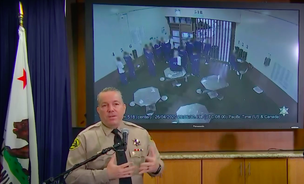 In a news conference on May 11, 2020, Los Angeles County Sheriff Alex Villanueva says surveillance video from a Castaic jail shows inmates trying to infect themselves with COVID-19.