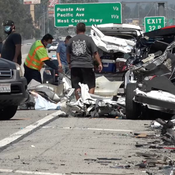A multi-vehicle crash in Baldwin Park on May 10, 2020 left a 13-year-old dead. (LoudLabs)