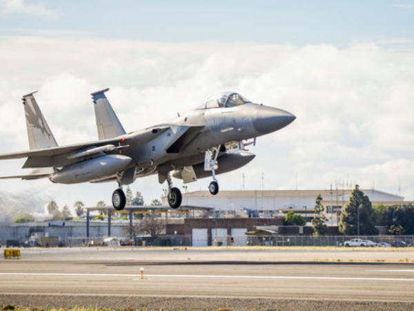 An F-15C Eagle from the 144th Fighter Wing takes off from the Fresno Yosemite International Airport on Mar. 17, 2020. (U.S. Air National Guard photo by Capt. Jason Sanchez)
