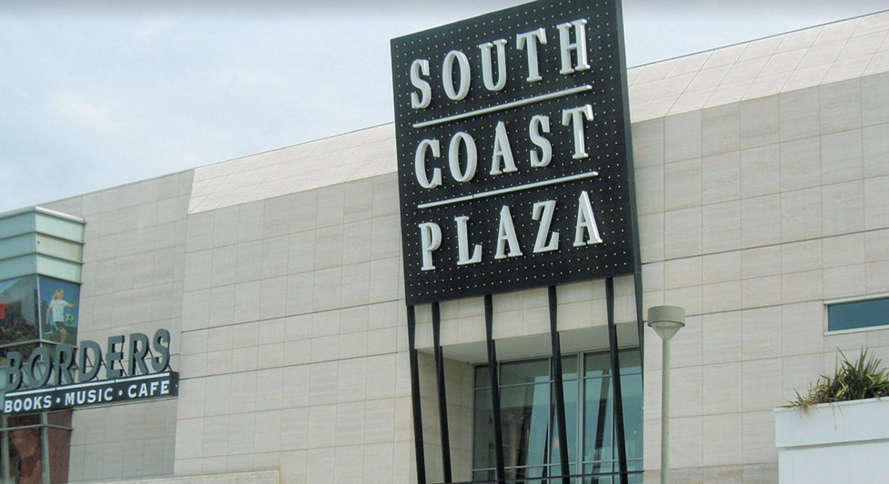 Then South Coast Plaza sign is seen in a Google Maps Street View image.