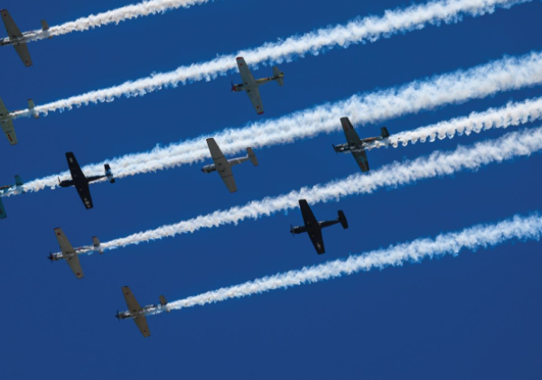 Vintage planes are seen in the sky in this image posted on the Tour de Pier Facebook page promoting a flyover in Manhattan Beach on May 17, 2020.