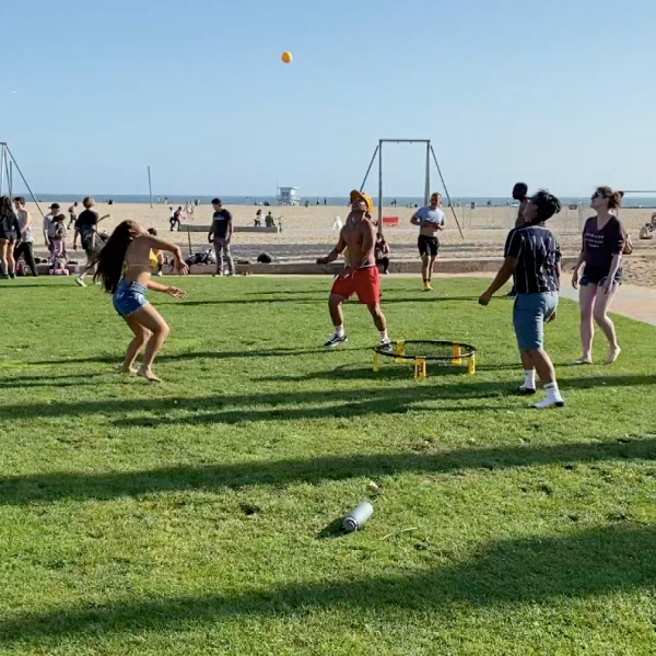 A group plays sports by Santa Monica Beach on May 23, 2020. (KTLA)