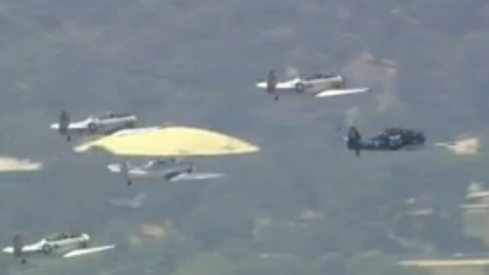 Vintage war planes fly over Southern California on May 25, 2020. (KTLA)