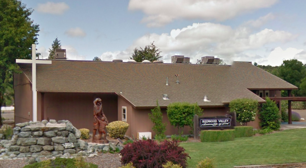 A Google Maps images shows the Assembly of God Church in Redwood Valley.