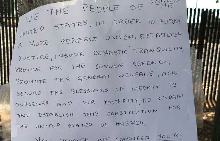 A screenshot from a video by KPIX shows a note posted at a San Leandro home in May 2020.