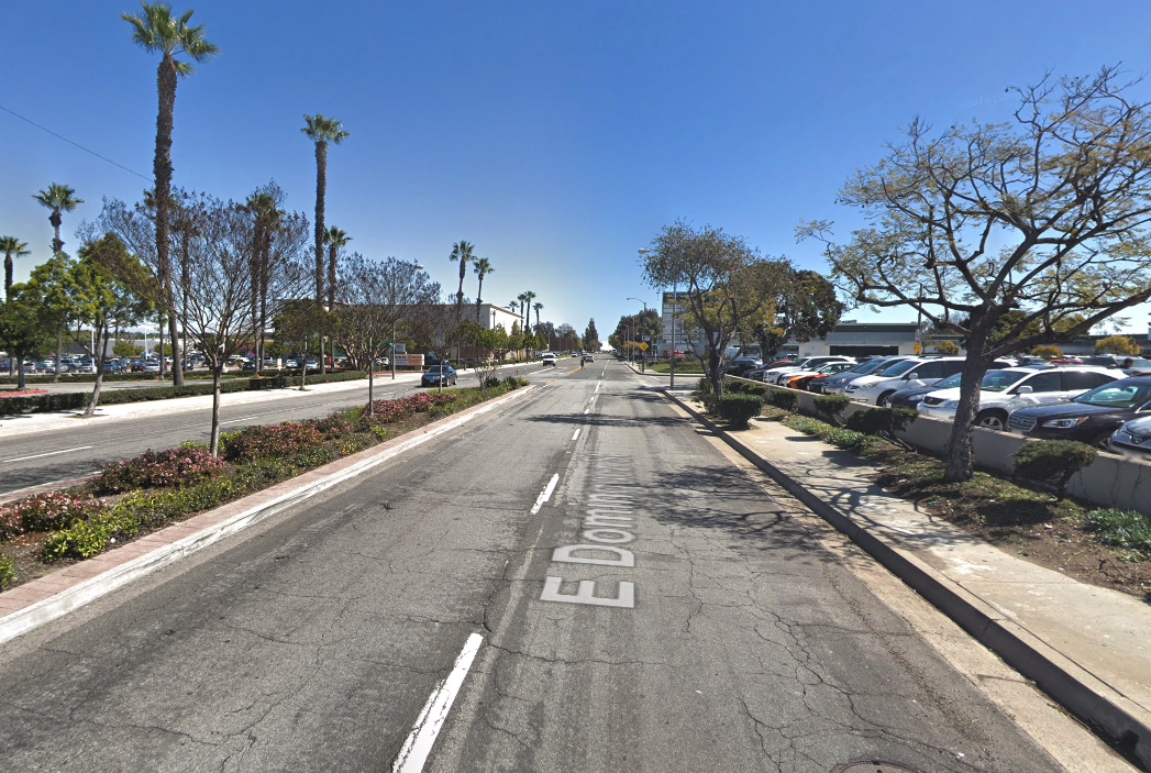 The 880 block East Dominguez Street in Carson is shown in a Street View image from Google Maps.