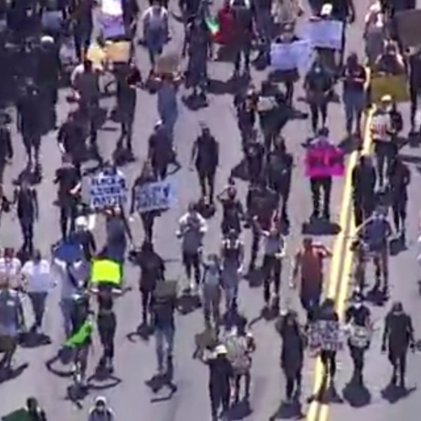 Marchers take over the streets of San Jose on May 29, 2020, in protest over the death of George Floyd in police custody. (CNN)