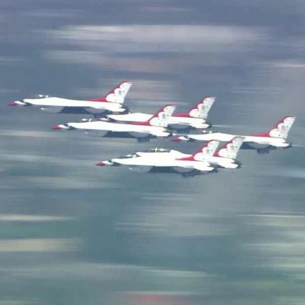 The U.S. Air Force Thunderbirds fly over downtown L.A. on May 15, 2020. (KTLA)