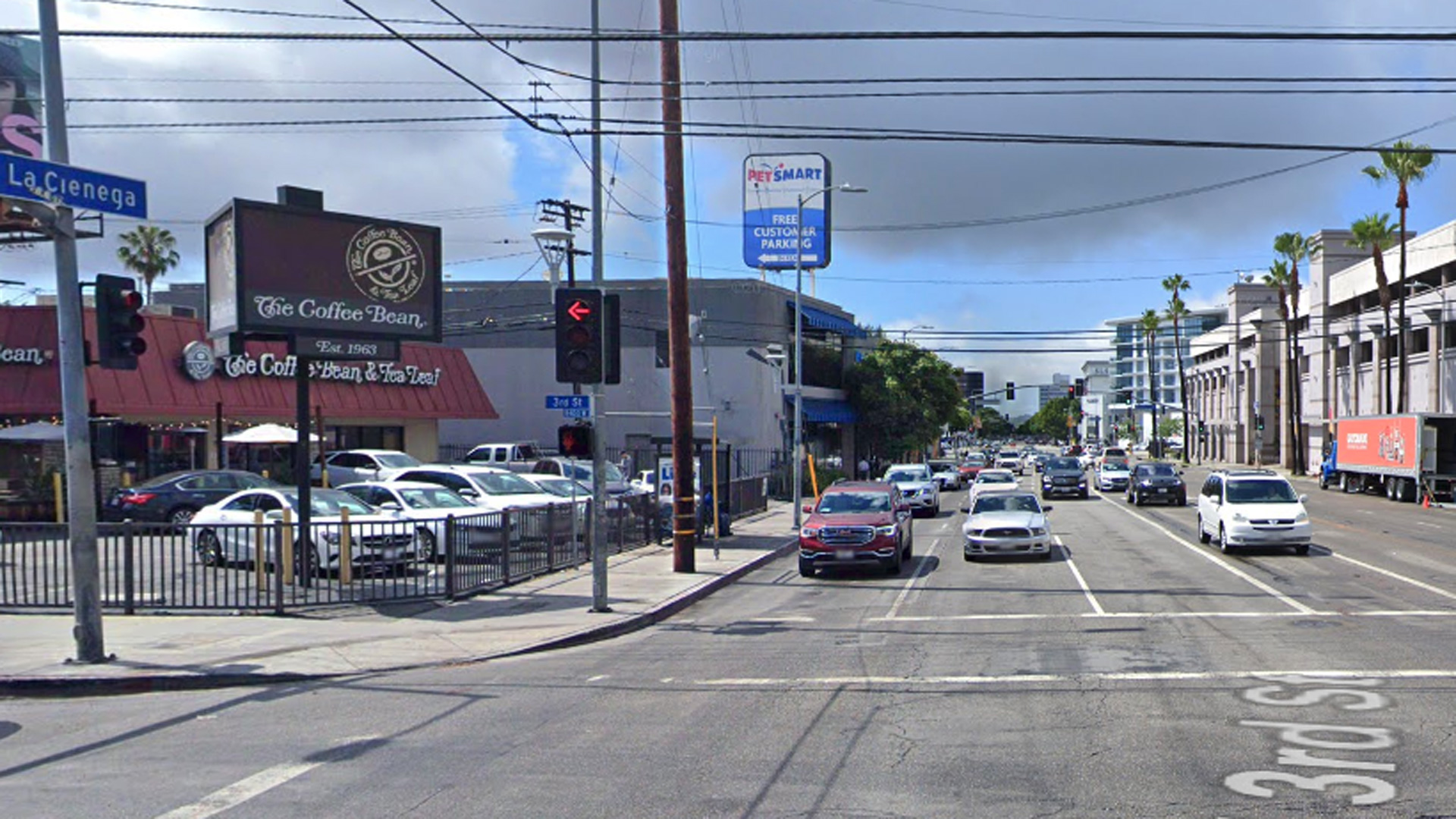 The intersection of 3rd Street and La Cienega is seen in an image from Google Maps.