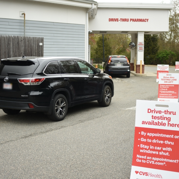 A CVS drive-thru coronavirus testing site is seen in an undated photo released by the company.