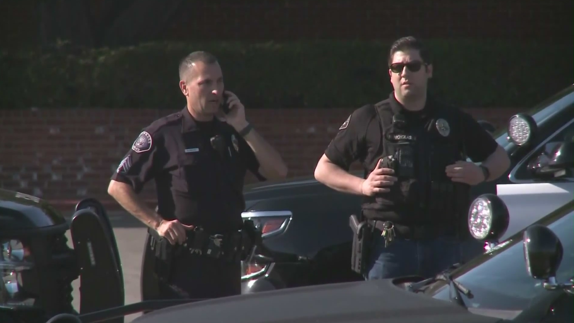 Police respond to a shooting at the Forest Lawn cemetery in Cypress on May 22, 2020. (KTLA)