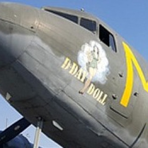 """The """"D-Day Doll"""" is seen in an image posted on the Commemorative Air Force Inland Empire Wing's website."""