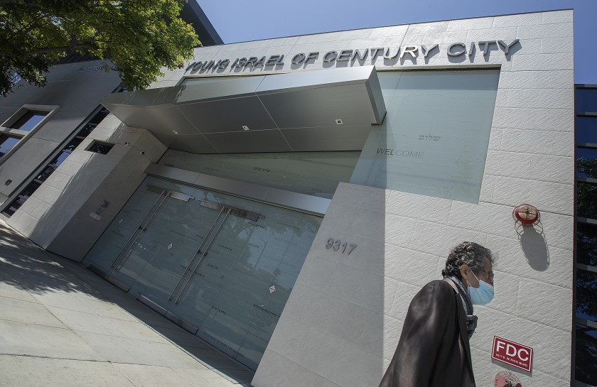 Even though Young Israel of Century City synagogue in Los Angeles can now reopen, its rabbi has decided to hold off. Elazar Muskin is among a group of local Orthodox rabbis who have said they will wait at least two weeks to see whether coronavirus cases surge. (Mel Melcon / Los Angeles Times)