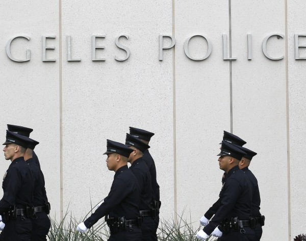 Los Angeles Police Department officers are seen outside the agency's downtown headquarters in this undated photo.(Brian van der Brug / Los Angeles Times)