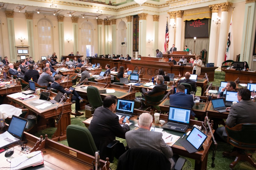 Members of the California Assembly, shown in 2019, will not get pay raises this year and may see their salaries reduced because of the state budget crisis.(Robert Gourley / Los Angeles Times)