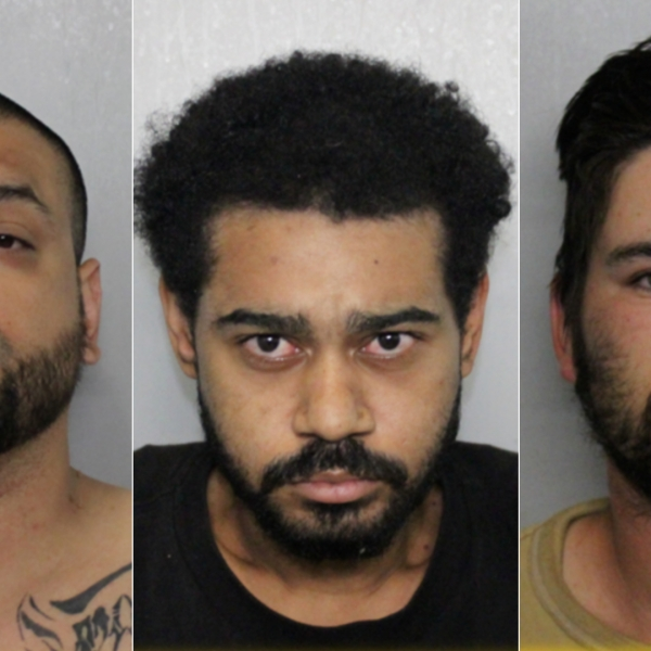 From left: Anthony Slater, Bradley Morris and Christian Ware are seen in undated booking photos released May 27, 2020, by the Fontana Police Department.