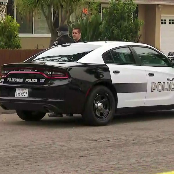 Police investigate a fatal shooting involving officers in Fullerton on May 28, 2020. (KTLA)