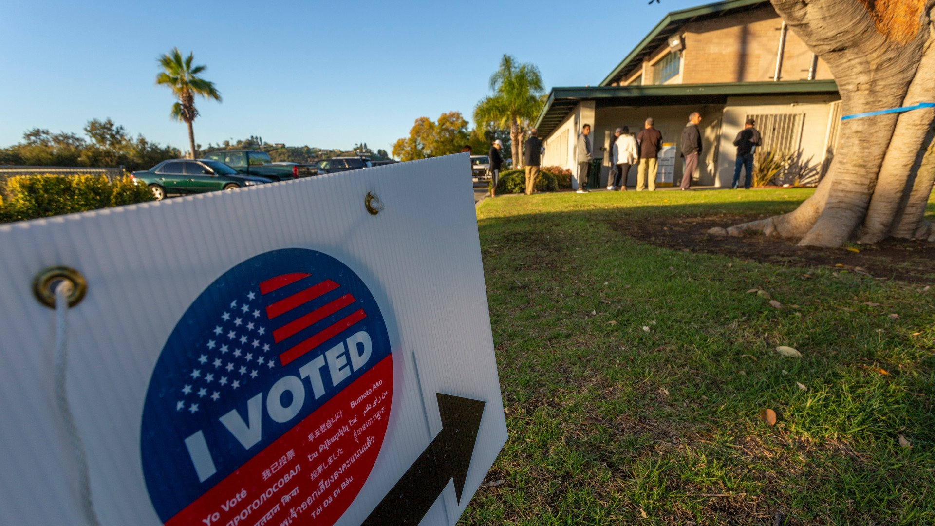 Voters wait for a voting center to open at Granada Park on March 3, 2020 in Alhambra, California. 1,357 Democratic delegates are at stake as voters cast their ballots in 14 states and American Samoa on what is known as Super Tuesday. (David McNew/Getty Images)