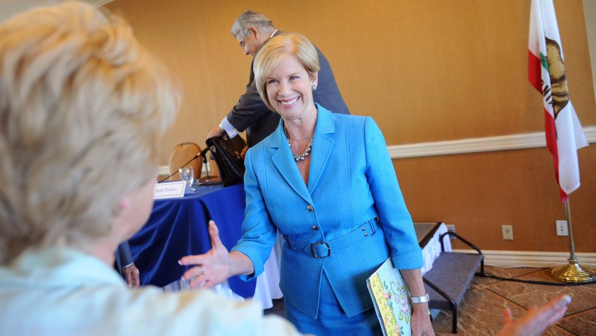 Supervisor Janice Hahn smiles after a debate in this undated photo. (Los Angeles Times)