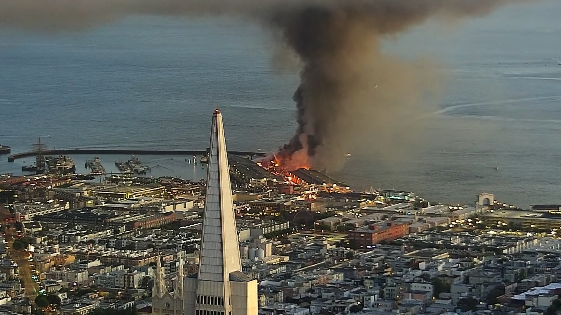 San Francisco firefighters battled a a warehouse fire at Pier 45 on May 23, 2020. (KPIX via CNN)