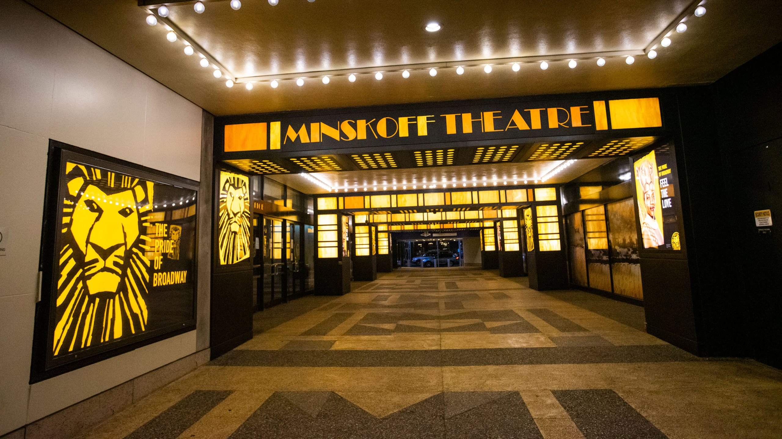 External view of a closed theater after New York cancelled all gatherings over 500 people due to COVID-19 on March 13, 2020 in New York City, NY. President Donald Trump declared a national state of emergency on Friday, more than 1,600 people have been tested positive for COVID-19 and 41 have died. (Eduardo Munoz/ VIEWpress via Getty Images)