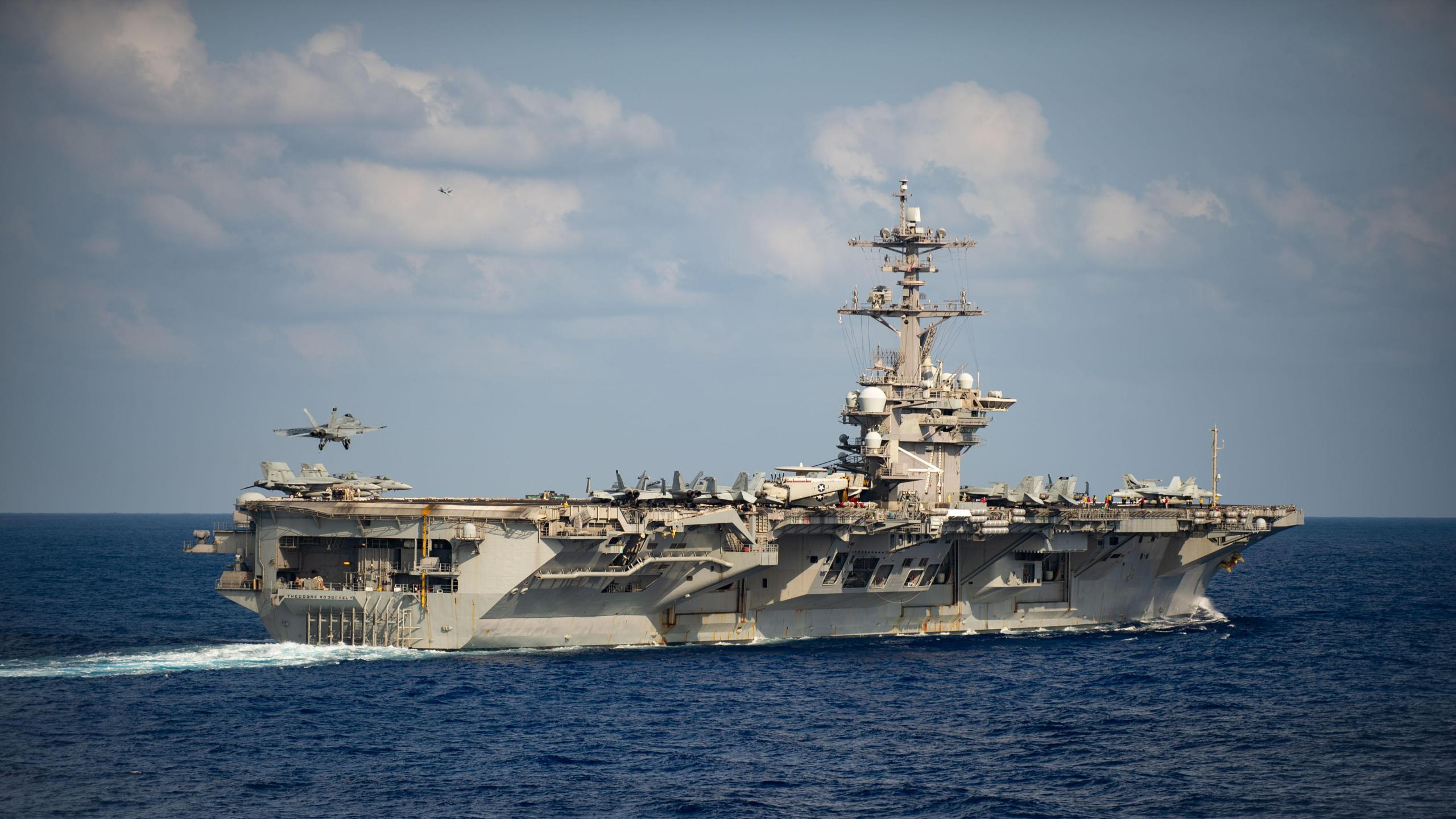 The Theodore Roosevelt Carrier Strike Group on a scheduled deployment to the Indo-Pacific on March 18, 2020. (U.S. Navy by Mass Communication Specialist 3rd Class Nicholas V. Huynh/Released via CNN)