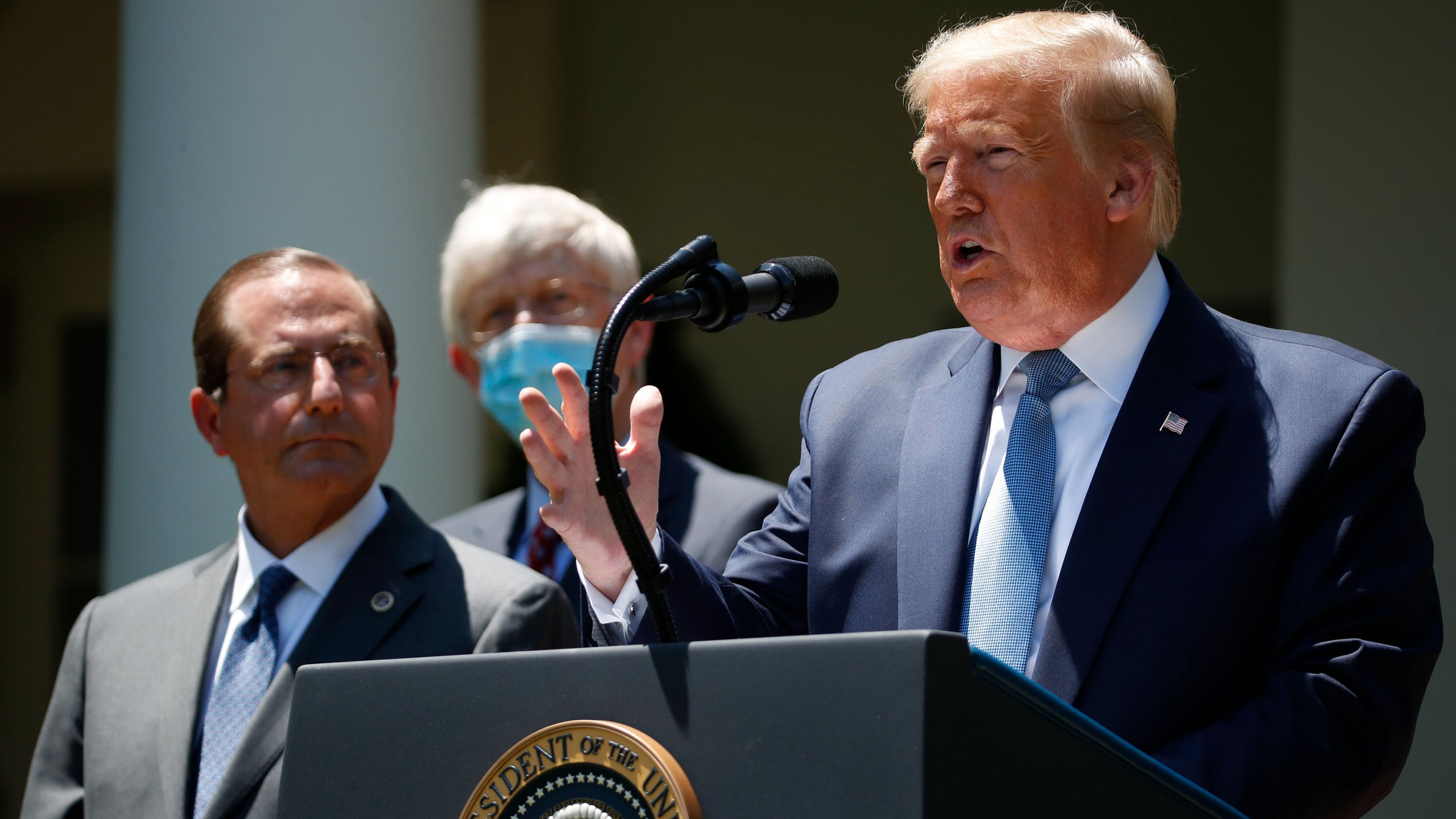 President Donald Trump speaks about the coronavirus in the Rose Garden of the White House, Friday, May 15, 2020, in Washington. (AP Photo/Alex Brandon via CNN)