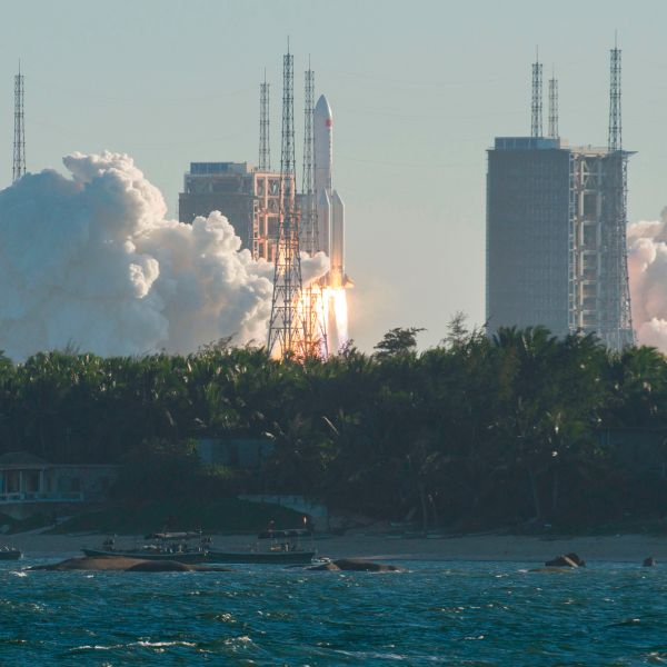A Long March 5B rocket lifts off from the Wenchang launch site on China's southern Hainan island on May 5, 2020. (STR/AFP via Getty Images)
