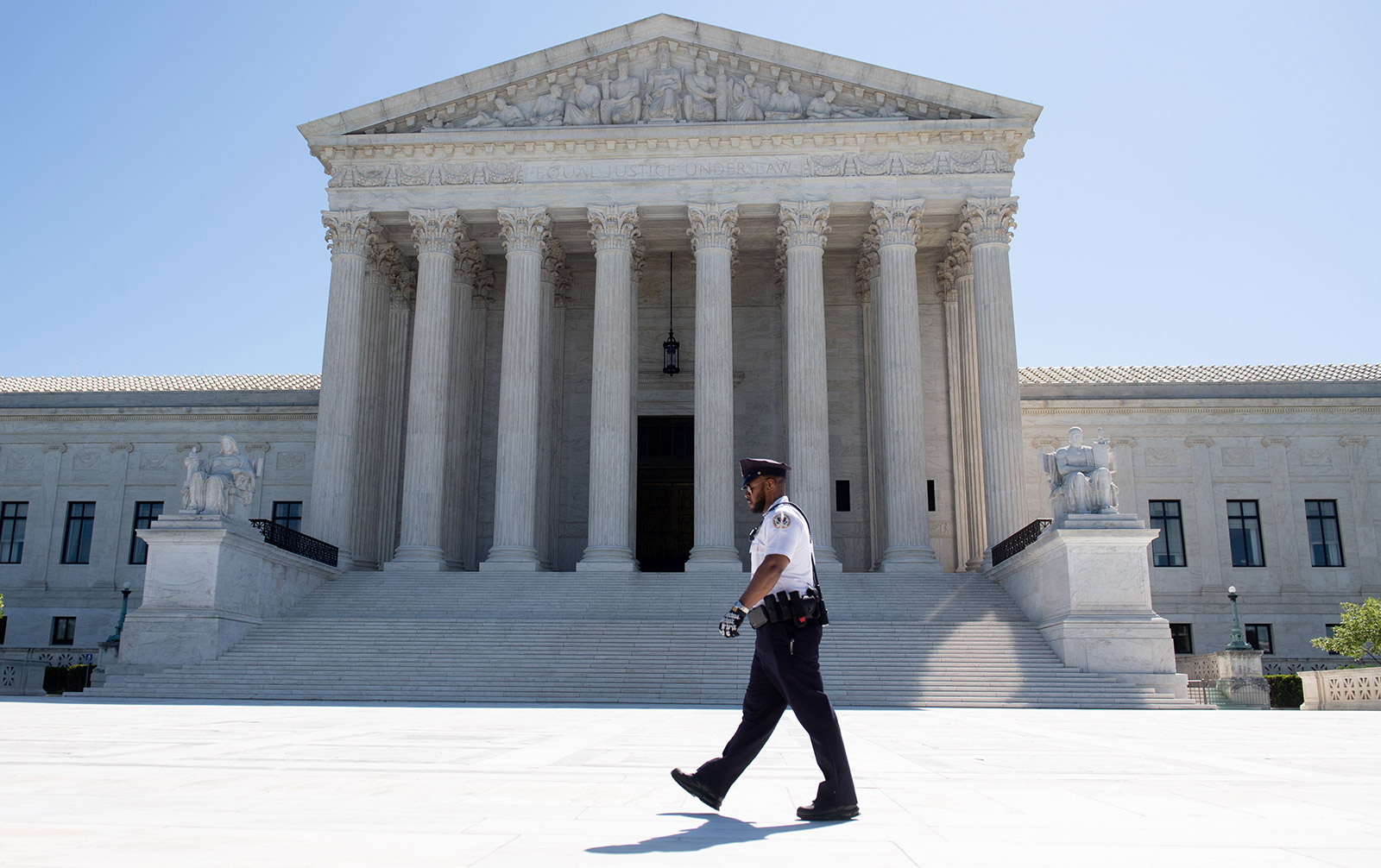 The US Supreme Court is seen in Washington, DC, on May 4, 2020, during the first day of oral arguments held by telephone, a first in the Court's history, as a result of COVID-19, known as coronavirus. (SAUL LOEB/AFP via Getty Images)