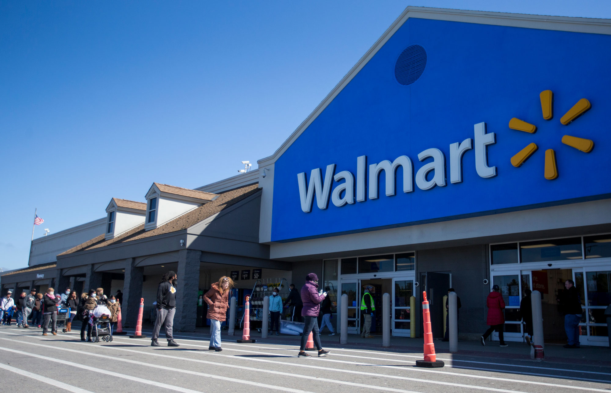 The Walmart in Quincy, Massachusetts, closed Monday after a cluster of coronavirus cases was identified among employees. (Blake Nissen/The Boston Globe/Getty Images)