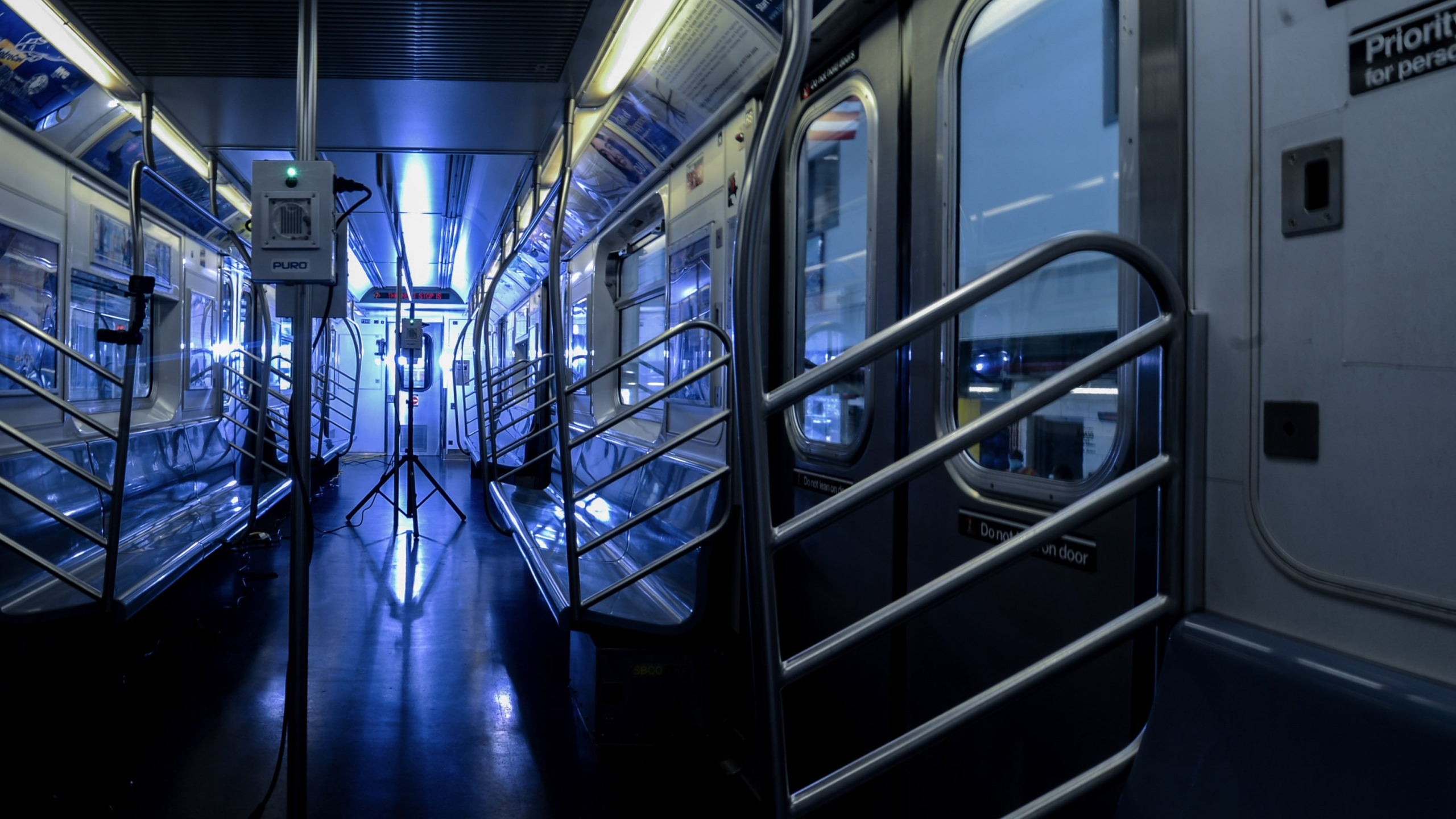 Pictures show the use of UV technology on New York City's subway system. (Marc A. Hermann/MTA New York City Transit)