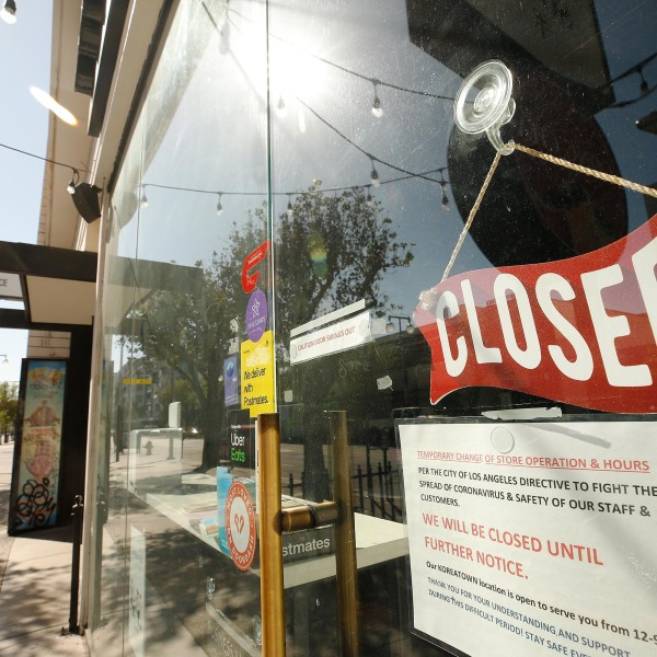 The streets are quiet with closed signs May 5 in Los Angeles. (Al Seib/Los Angeles Times/Getty Images)