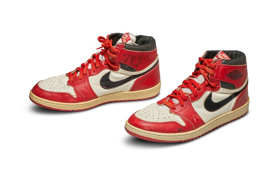 A pair of Jordan's game-worn and autographed Nike Air Jordan 1 shoes from 1985. (Sotheby's via CNN)