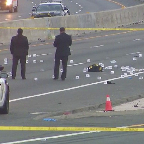 Authorities investigate a fatal shooting involving CHP officers in Long Beach on May 8, 2020. (KTLA)