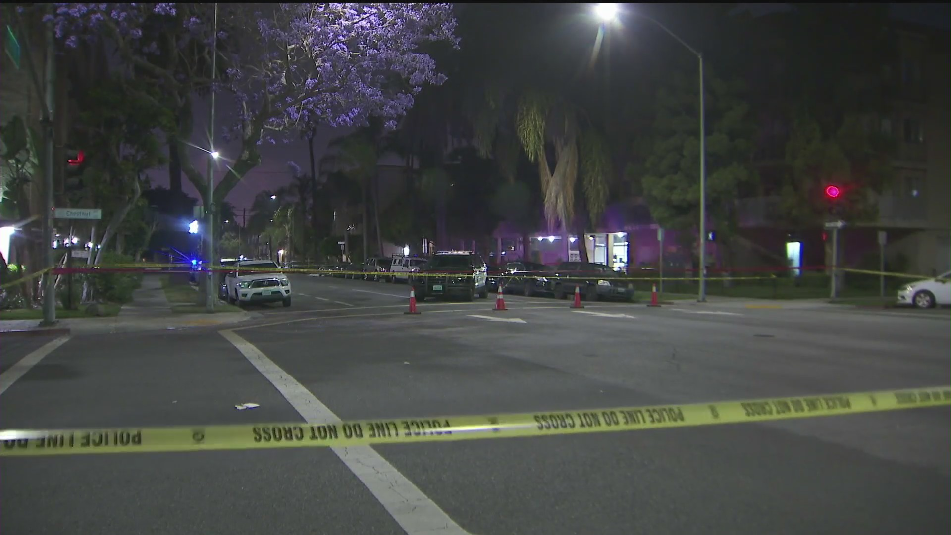 A pedestrian was killed by a driver fleeing from police in Long Beach on May 27, 2020. (KTLA)