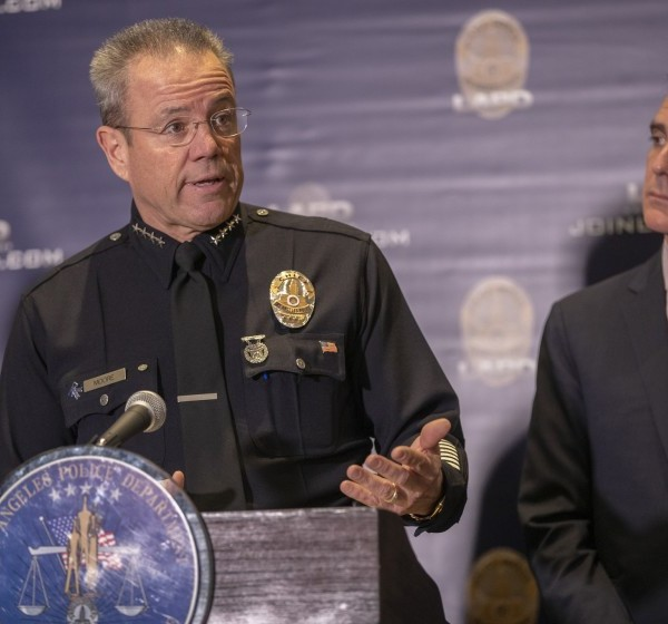 Mayor Eric Garcetti and LAPD Chief Michel Moore appear at a briefing in 2019. (Allen J. Schaben / Los Angeles Times)