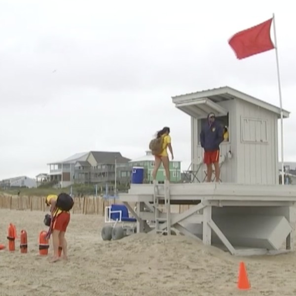 People in North Carolina enjoy the beaches ahead of Tropical Storm Arthur.(WTVD via CNN Wire)