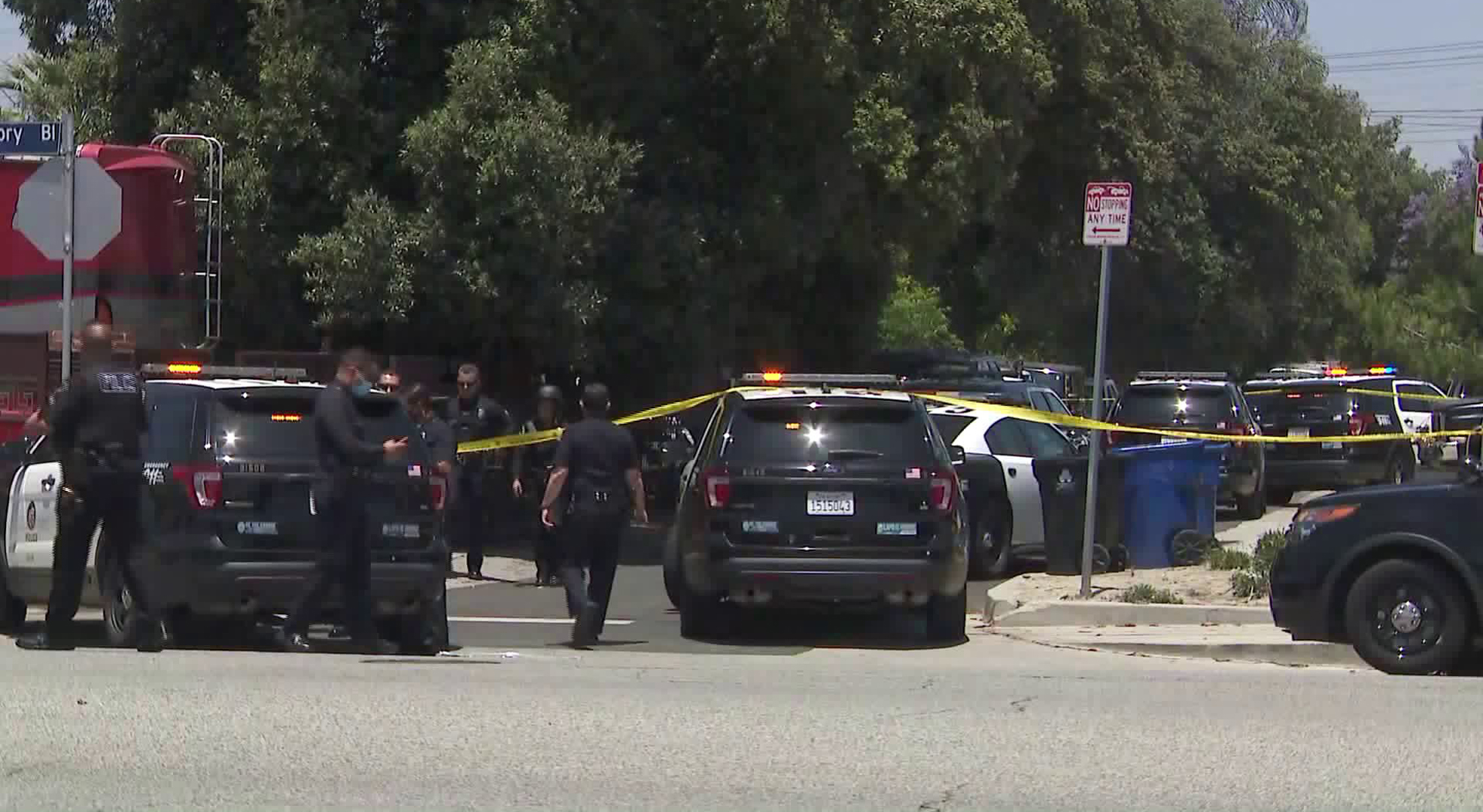 Police respond to a fatal officer-involved shooting in North Hollywood on May 27, 2020. (KTLA)