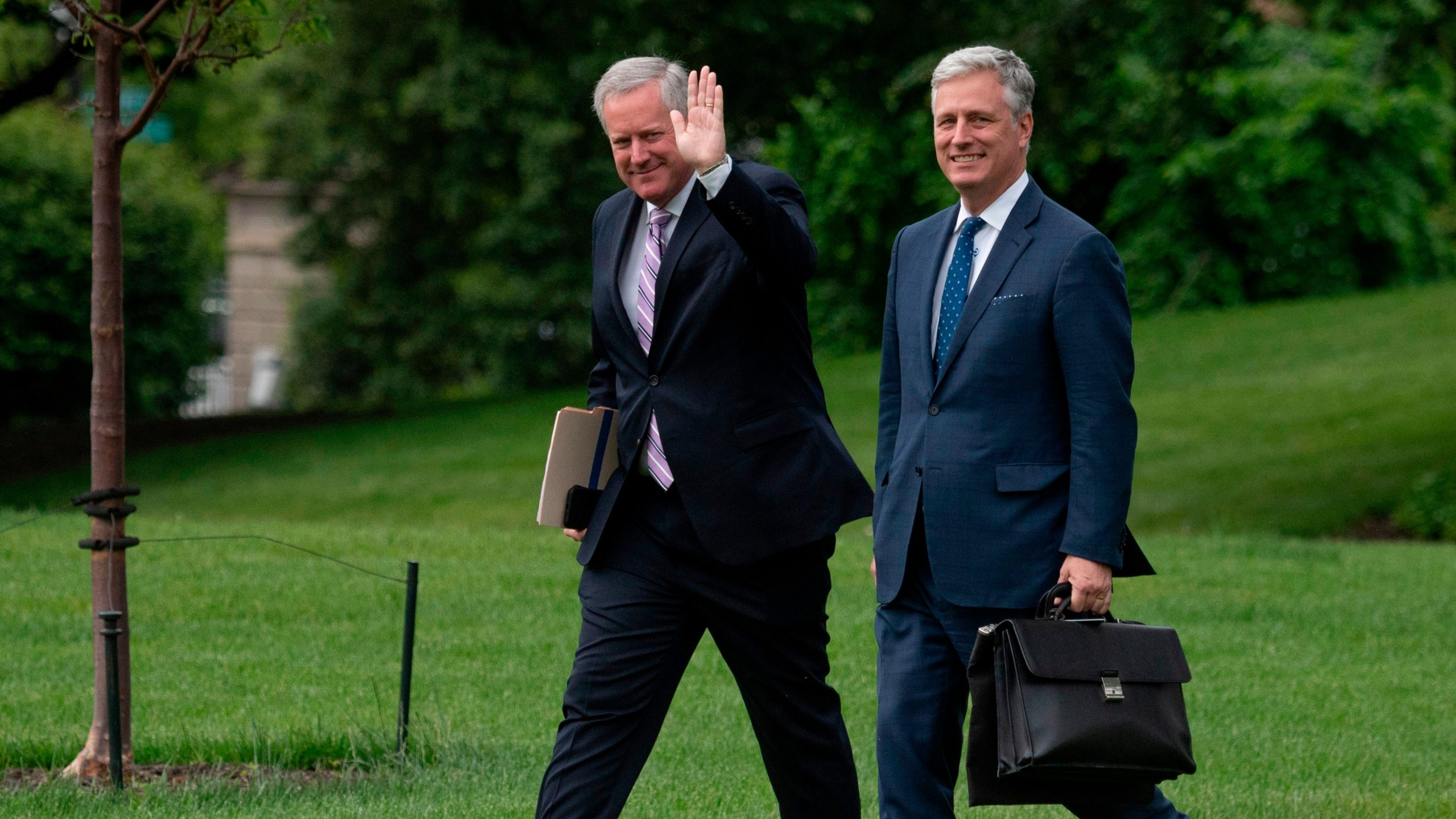 National Security Advisor Ambassador Robert O'Brien (R) and White House Chief of Staff Mark Meadows depart the White House, on May 5, 2020, in Washington, D.C. en route to Arizona, where President Donald Trump will tour a mask factory and hold a roundtable on Native American issues. (JIM WATSON/AFP via Getty Images)