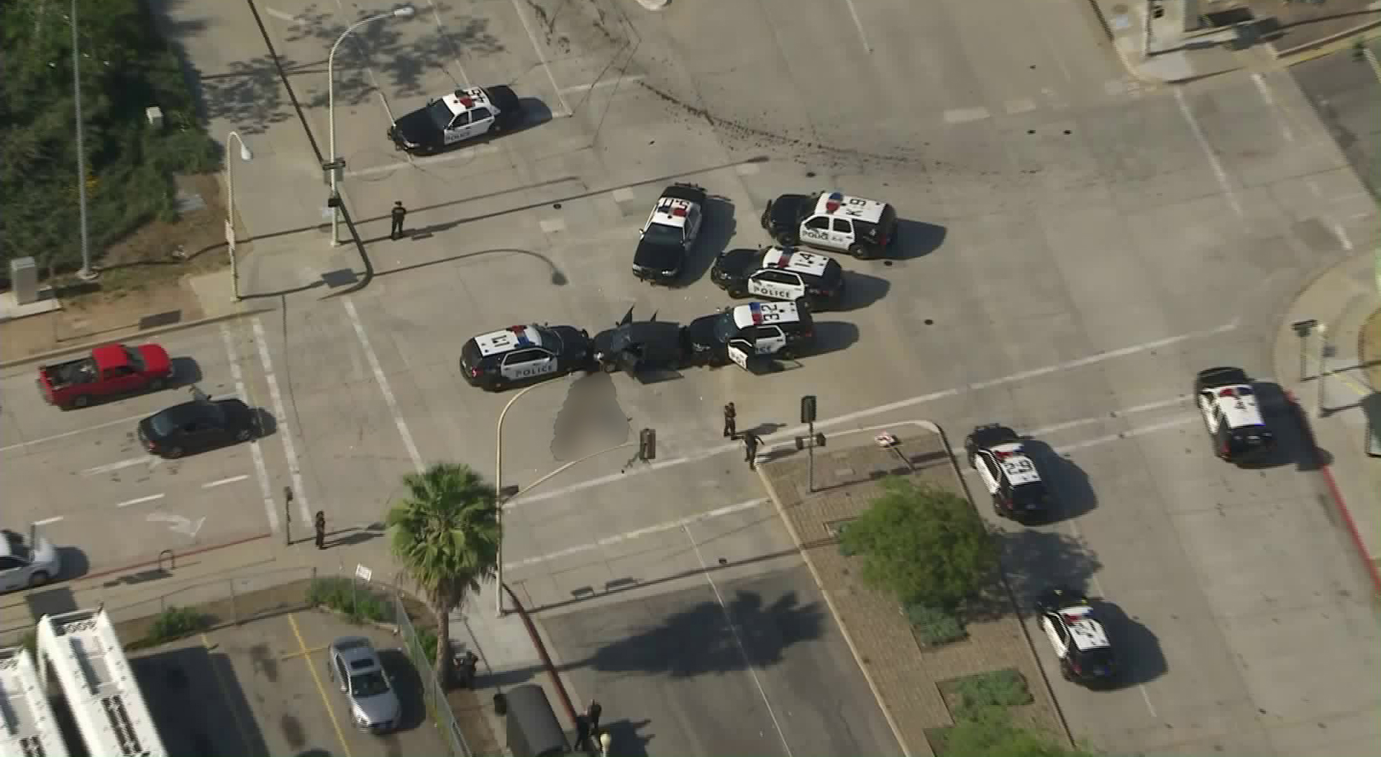 Authorities respond to a police shooting in Pasadena on May 8, 2020. (KTLA)