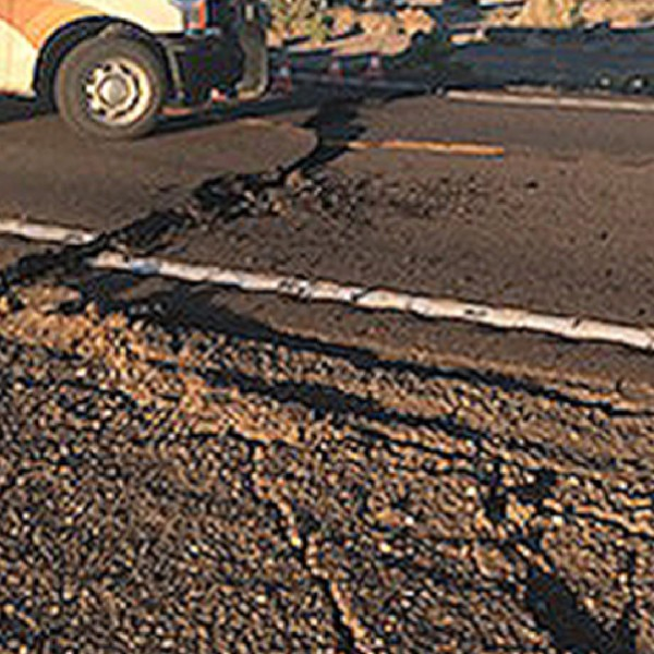 An earthquake caused a massive crack along Highway 95 between Las Vegas and Reno, Nevada, on May 15, 2020. (Nevada Highway Patrol)