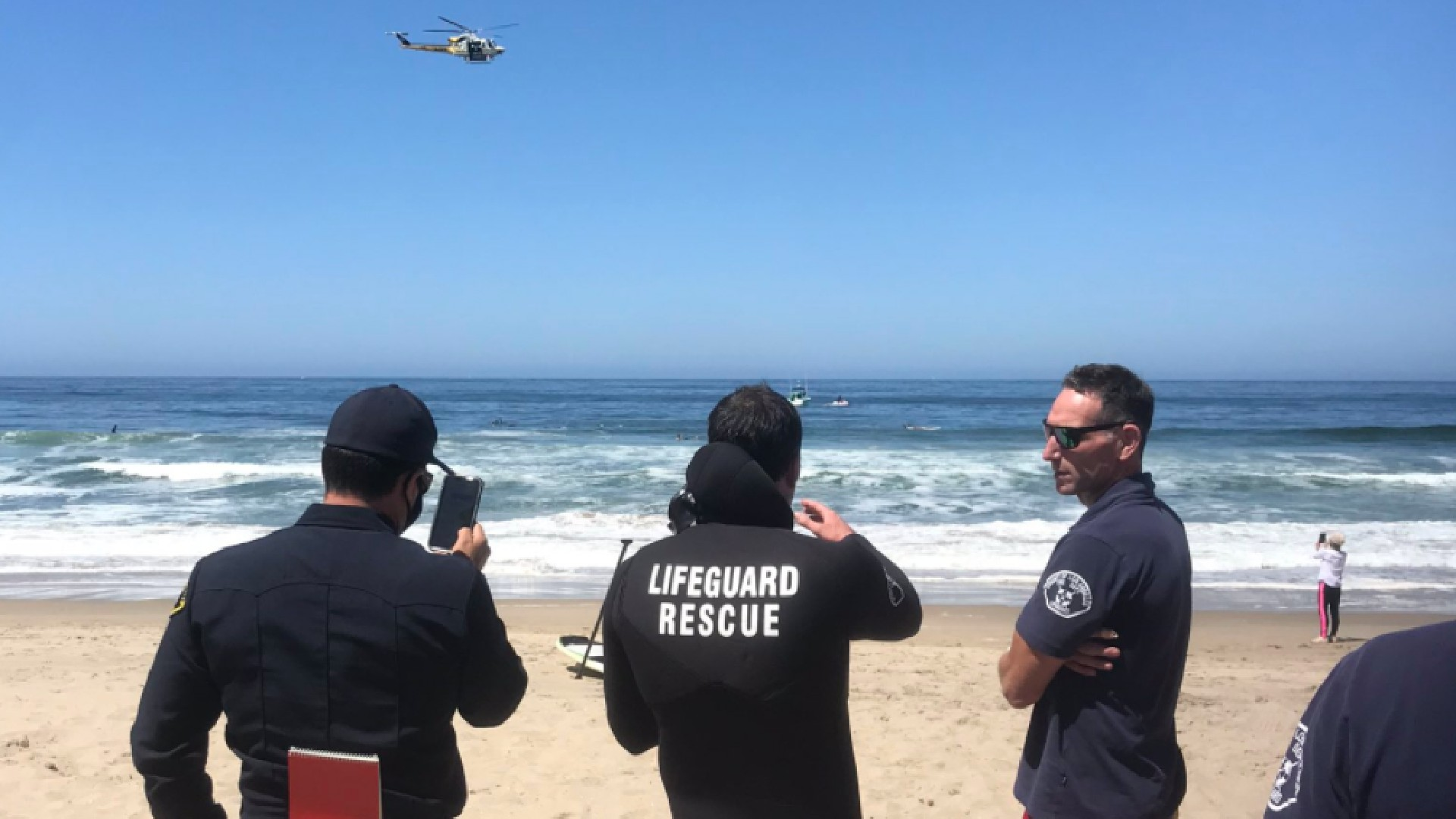 A search was underway for a missing swimmer off the coast of Manhattan Beach on May 21, 2020. (Los Angeles County Fire Department Lifeguards Division)