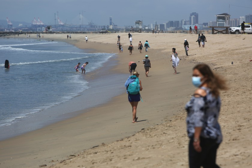 Seal Beach is seen after it reopened in May 2020. (Dania Maxwell / Los Angeles Times)
