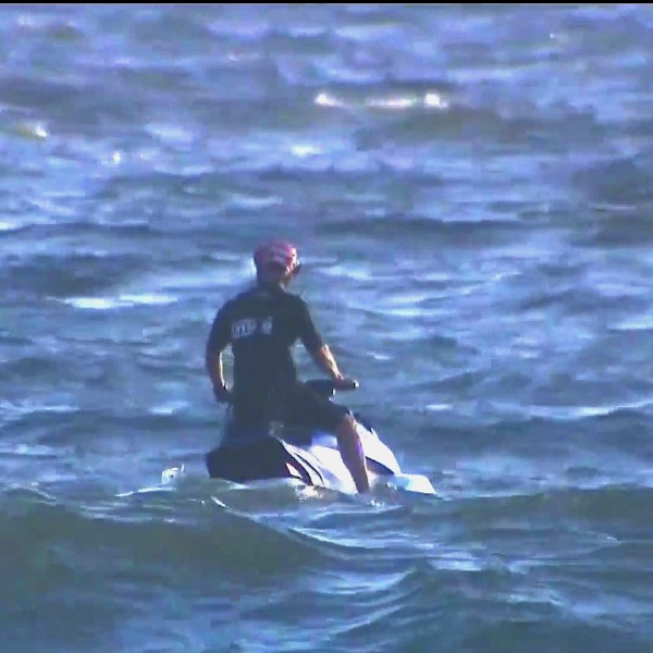 Rescuers search for a man missing of off Venice Beach on May 17, 2020. (KTLA)