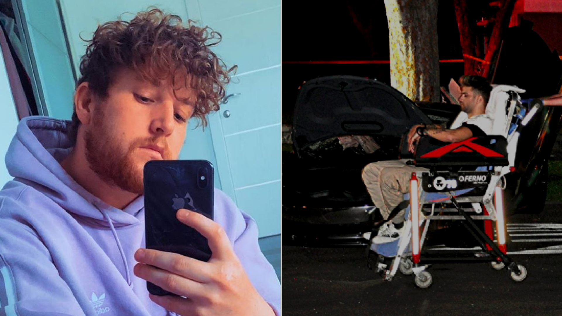 Corey La Barrie, left, is seen in an undated photo shared by his mom and brother on Instagram. At right, Daniel Silva is transported from the scene of a suspected DUI crash in Valley Village on May 10, 2020. (OnScene.TV)