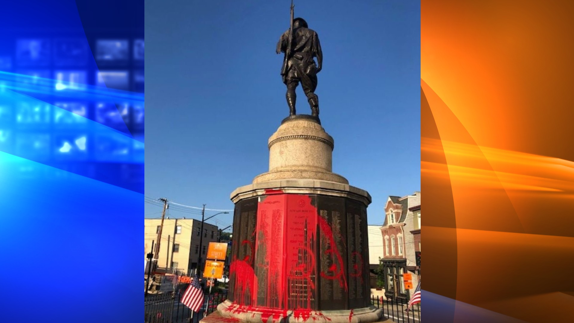Pittsburgh Police are investigating after a WWI War Memorial at Doughboy Square in Lawrenceville was vandalized overnight, according to a release from the Pittsburgh Bureau of Police. (Pittsburgh Bureau of Police via CNN Wire)